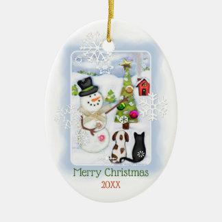 WeihnachtsSchneemann mit Katzen-und Keramik Ornament
