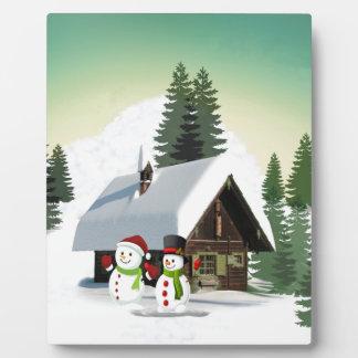 WeihnachtsSchneemann-Szene Fotoplatte
