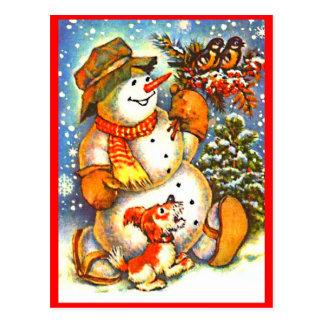 WeihnachtsSchneemann, Vogel-Hunderote Postkarte