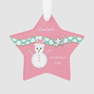 WeihnachtsSchneemannrosa-Stern Enkelin Ornament