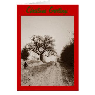 Weihnachtsschneeszene Sepia-Foto-Grußkarte Karte