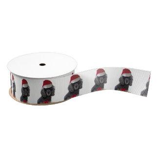 """Weihnachtsschwarzer Pudelhund 1,5"""" Satinband"""