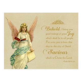 Weihnachtsscripture-Vintage Wiedergabe-Postkarte Postkarte