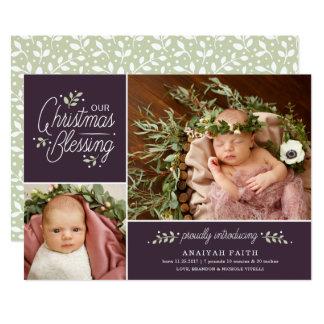 Weihnachtssegen-Foto-Geburts-Mitteilung Karte