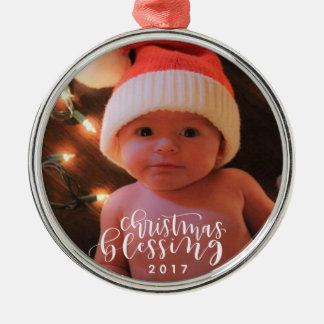 Weihnachtssegen-Verzierung Silbernes Ornament