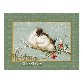 Weihnachtssegensnowbirds-Vintage Wiedergabe Postkarte