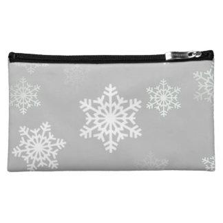 Weihnachtssilbrige weiße Schneegestöber Cosmetic Bag