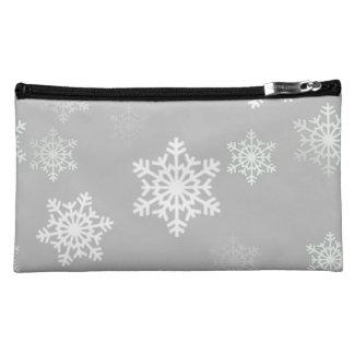 Weihnachtssilbrige weiße Schneegestöber Kosmetiktasche