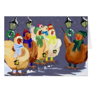 Weihnachtssingende Huhnkarte! Grußkarte