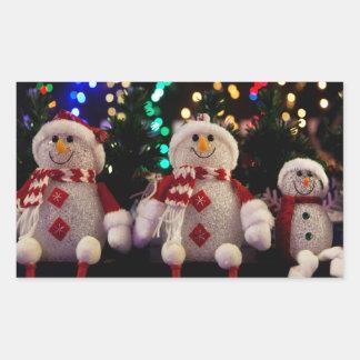 Weihnachtssnowman-Familie verziert Baum-Foto Rechteckiger Aufkleber