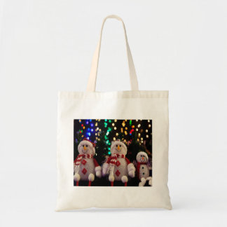 Weihnachtssnowman-Familie verziert Tragetasche