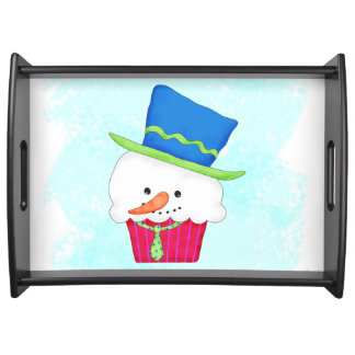 Weihnachtssnowman-Kuchen-Party-Unterhaltung Serviertabletts