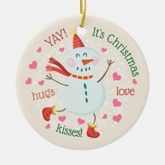 Weihnachtssnowman-personalisiertes Foto Keramik Ornament