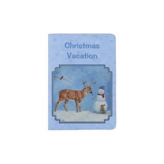 Weihnachtssnowman-Rotwild-niedliches Häschen-Blau Passhülle
