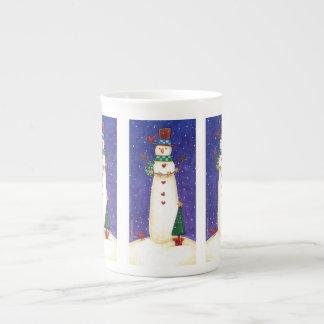 Weihnachtssnowman-Tasse Porzellantasse
