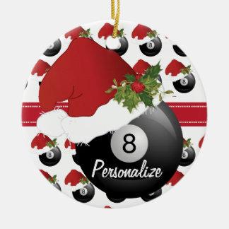 Weihnachtssport-Billard-Pool-Weihnachtsmannmütze Keramik Ornament