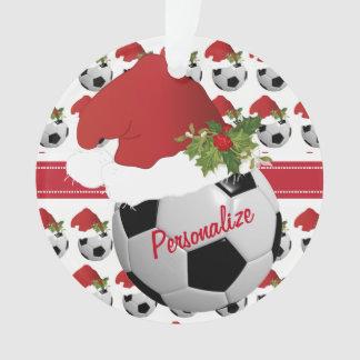 Weihnachtssport-Fußball-Ball-Weihnachtsmannmütze Ornament
