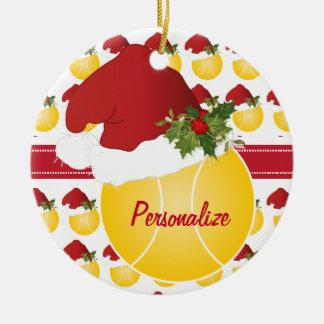 Weihnachtssport-Tennis-Ball-Weihnachtsmannmütze Keramik Ornament