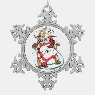 Weihnachtsstachelschwein-Näharbeit Wimsical Kunst Schneeflocken Zinn-Ornament