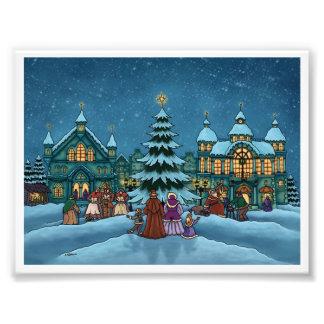 Weihnachtsstadtfeiertags-Fotodruck Kunstfotos