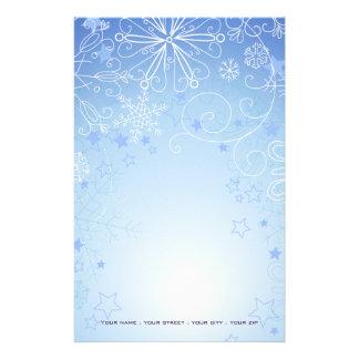 Weihnachtsstationäres Blaues u. weiß Briefpapier