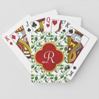 Weihnachtsstechpalme und -monogramm spielkarten