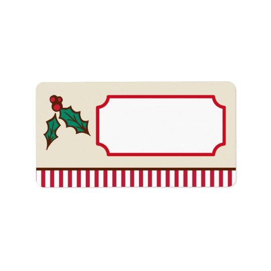 Weihnachtsstechpalmen-Aufkleber Adressetiketten