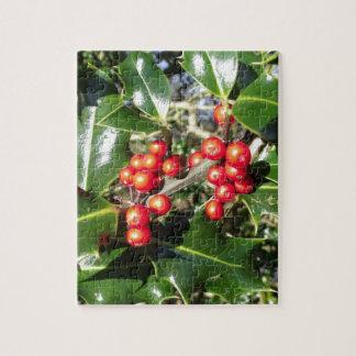 Weihnachtsstechpalmen-Beeren auf Stechpalme Puzzle