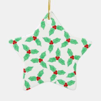 Weihnachtsstechpalmen-Beerenmuster Keramik Ornament