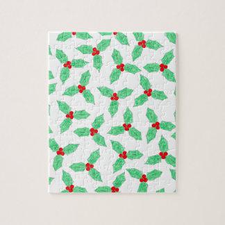 Weihnachtsstechpalmen-Beerenmuster Puzzle