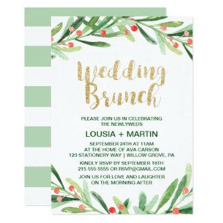 Weihnachtsstechpalmen-Kranz-Hochzeits-Brunch Karte
