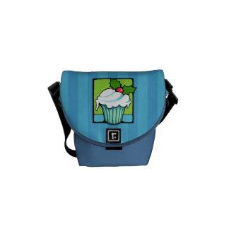 Weihnachtsstechpalmen-Kuchen-blaue Minibote-Tasche Kuriertasche