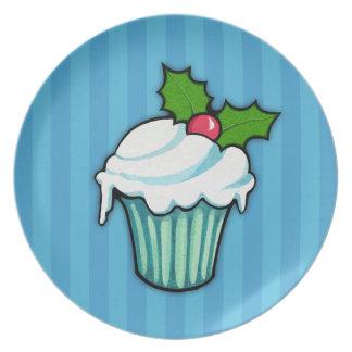 Weihnachtsstechpalmen-Kuchen-blaue Platte 2 Teller