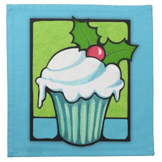 Weihnachtsstechpalmen-Kuchen-blaue Serviette