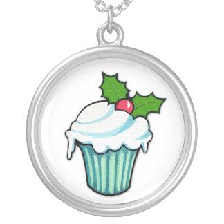 Weihnachtsstechpalmen-Kuchen-Halskette Versilberte Kette