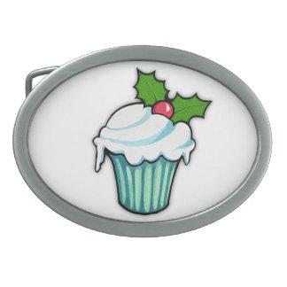 Weihnachtsstechpalmen-Kuchen-ovale Gürtelschnalle
