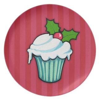 Weihnachtsstechpalmen-Kuchen-rote Platte 2 Teller