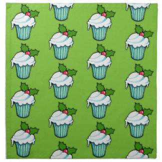Weihnachtsstechpalmen-Kuchengrün-Muster Serviette