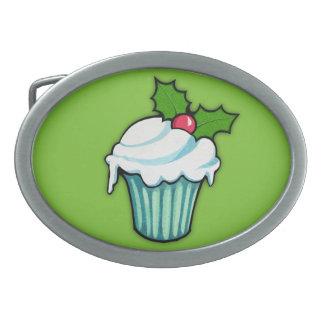 Weihnachtsstechpalmen-Kuchengrün ovale Ovale Gürtelschnallen
