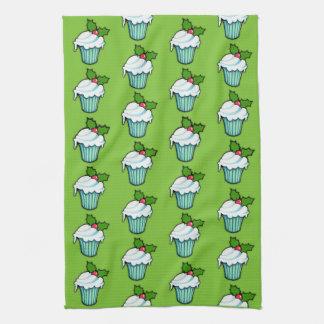 Weihnachtsstechpalmen-Kuchengrünmuster Tee-Tuch Handtuch