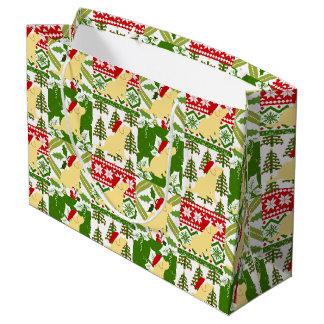Weihnachtssteppdecken-Gelb-Labrador-Welpen-Tasche Große Geschenktüte