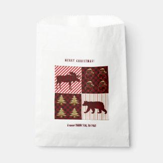 Weihnachtssteppender Büffel-karierter Ren-Bär Geschenktütchen