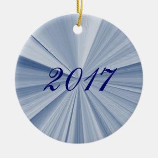 Weihnachtsstern-blaue Andenken-Verzierung 2017 Rundes Keramik Ornament