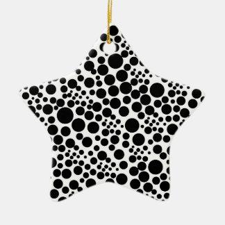 Weihnachtsstern mit Pünktchen, Punkte Spots Points Keramik Stern-Ornament