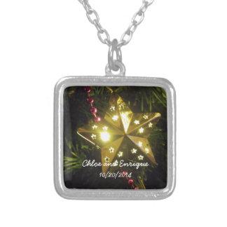 Weihnachtsstern-personalisierte Feiertags-Hochzeit Halskette Mit Quadratischem Anhänger