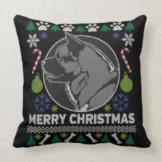 Weihnachtsstrickjacke-Hund Akitas hässlicher Kissen