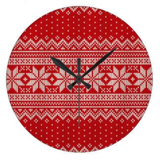 Weihnachtsstrickjacke-strickendes Muster - ROT Große Wanduhr