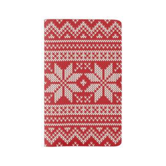 Weihnachtsstrickjacke-strickendes Muster - ROT Großes Moleskine Notizbuch
