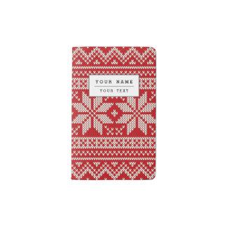 Weihnachtsstrickjacke-strickendes Muster - ROT Moleskine Taschennotizbuch