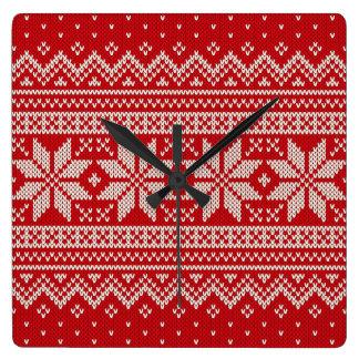 Weihnachtsstrickjacke-strickendes Muster - ROT Quadratische Wanduhr